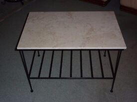 Steel and Marble top side table