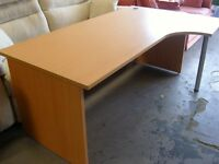 Large Curved Office Corner Desk or Table in Light Wood Effect