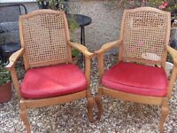 Lovely Vintage Pair of Bergere Arm Chairs