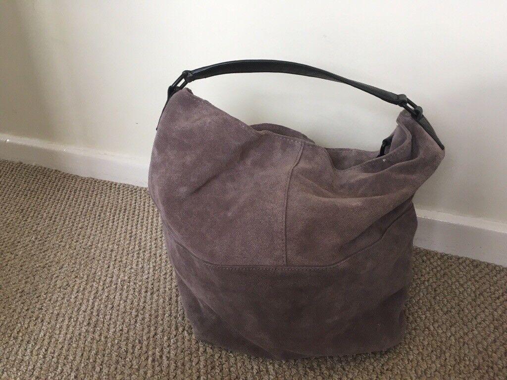 Mango Grey Suede Handbag