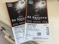 2 Ed Sheeran pitchside tickets 14 June at Wembley (in hand)