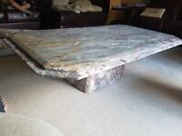 Solid Marble Coffee Table and Two Matching Side Tables
