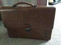 Brown tan leather briefcase
