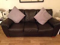 brown leather sofas (3&2 seater)
