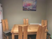 Solid Oak Table & 6 Black Leather Chairs