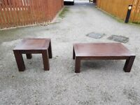2 Solid Dark Wood Coffee/Side Tables FREE DELIVERY 423