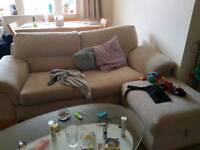 Massive squashy sofa and pouffe