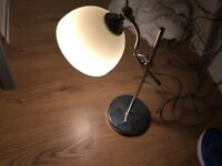 Chrome table lamp with cream glass shade in very good condition