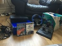 Ps2 & driving force steering wheel and foot pedal with two games