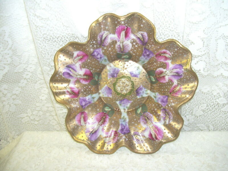 Antique footed Goofus Dish Gold with Iris and gold beading