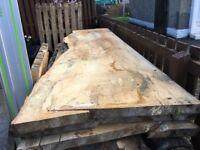 spalted beech hardwood live/waney edge slab plank table/desk