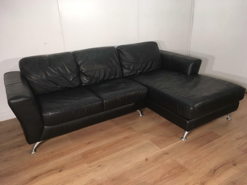 Black modern real leather corner sofa with free delivery within 10 miles