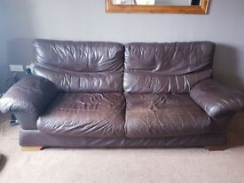 Brown leather 2x and 3x sofa suite