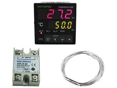 Digital Temperature Controller Pid Heat Cool Thermostat 110-240v Pt100 25a Ssr