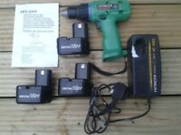 Hitachi DS12DVF 12V Cordless Variable Speed, Reversible Driver Drill with 3 Batteries & Case