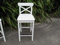 Tall white bar stool, kitchen stool, mancave, office