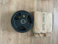 2 x 10KG Tri-Grip Rubber Olympic Weights / Discs / Plates.