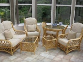 Conservatory furniture suite, 8 pieces, in cane: table & 2 ch'rs, settee, 2 armch'rs, 2 small tables