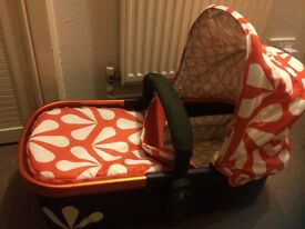 Pram, carrycot, car seat with rain cover and footmuff