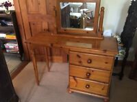 PINE DRESSING TABLE WITH MATCHING MIRROR
