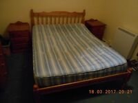Pine double bed frame (without mattress)
