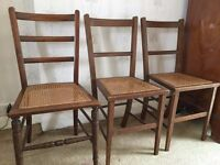 3 Wicker-seated chairs