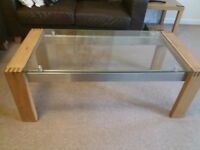Solid light oak coffee table/tv stand