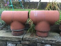 Chimney Cowls x 2 used identical T shaped - excellent condition