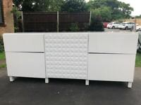 White IKEA BESTA Sideboard Unit with Glass Top