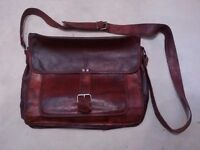 BRAND NEW Goatskin Leather Satchel Bag Brown - FOR SALE