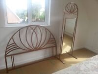 Metal Cheval Mirror with Matching Headboard