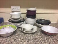 CHEAP! CLEARING EVERYTHING! THE LOT FOR 13! Plates, mugs, cutlery, chopping boards, grater etc!