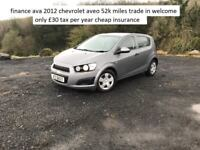 finance ava 2012 chevrolet aveo 52k miles £30 tax trade in welcome