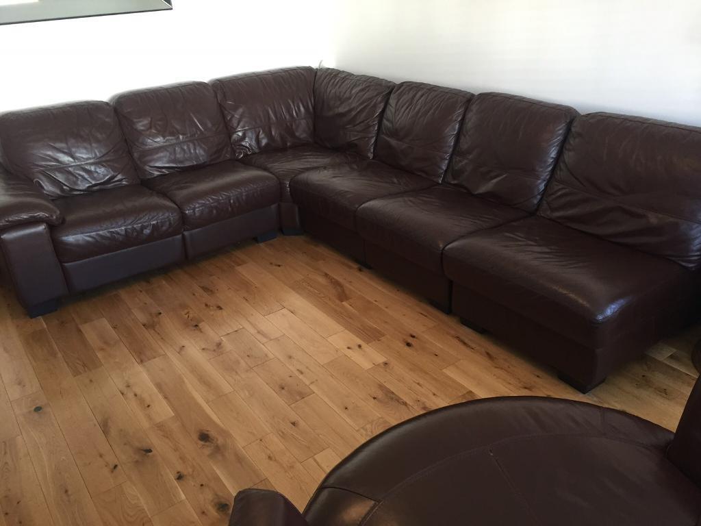 Linea corner group leather sofa