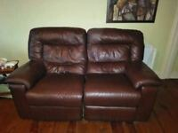 2 seater sofa in brown leather ( electric recliner) £125