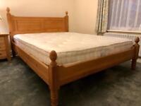 Queen size pine wood bed frame & John Lewis Mattress