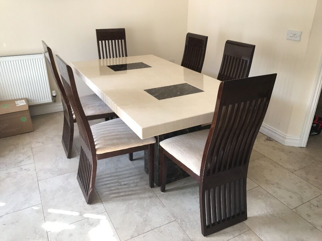 Marble Dining Table And 6 Chairs: DFS Marble Dining Table And 6 Chairs