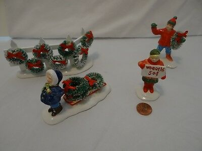Dept 56 Snow Village Wreaths For Sale Set of 4 Christmas Figurines 5408-9