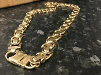 mens 9ct gold byzantine necklace chain not belcher curb rolex