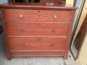 "Oakville ANTIQUE 1940S DRESSER 36x17x31""h Cut Glass Scrollwork Red Brown Solid Wood Dovetail Joints Low Chest of Drawers"