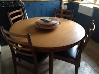 Lovely retro G Plan extending dining table and 4 chairs