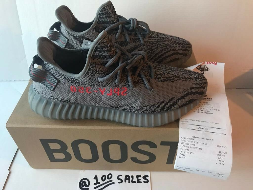 dbf5941a6 ADIDAS x Kanye West Yeezy Boost 350 V2 BELUGA 2.0 Grey UK8.5 AH2203  FOOTLOCKER RECEIPT 100sales
