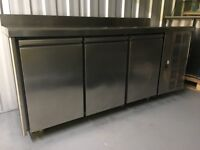 Refrigerated counter, hood, fryer, meat slicer, kettle, sink, kitchen table, induction plates etc.
