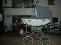 MOTHERCARE PRAM CREAM AND GREY HOOD AND APRON