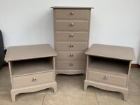 STAG 6 drawer tall boy & 2 Stag bedside cabinets