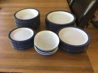 Denby blue crockery - 38 pieces - used but not chipped or cracked