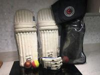 Junior Cricket pads, gloves, helmet - good condition