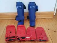 Training shin guards +gloves