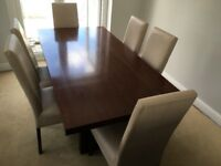 Dining table, 6 chairs and tall glass cabinet