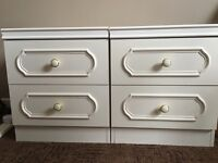 Wardrobe, Tallboys drawer unit & 2 bedside tables in White wood